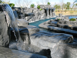 waterfalls over pool