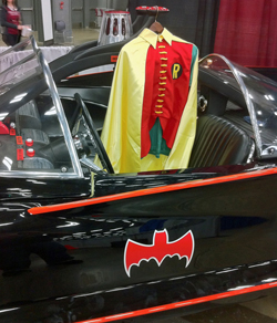 Robin costume and Batmobile